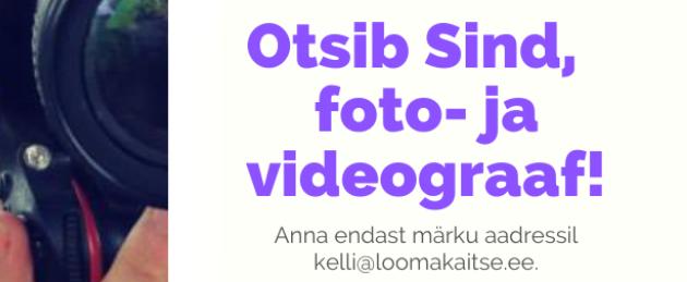 Eesti Loomakaitse Selts otsib Sind, foto- ja videograaf!